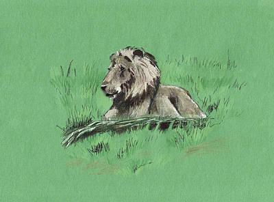 Painting - Lion On The Grass by Masha Batkova
