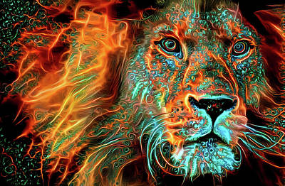 Digital Art - Lion Orange And Aqua Fractal Energy by Matthias Hauser