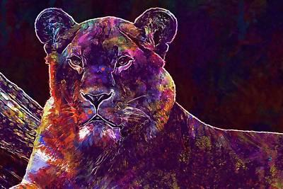 Digital Art - Lion Panthera Leo Lioness  by PixBreak Art