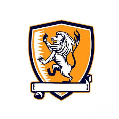 Lion Prancing Crest Woodcut Art Print