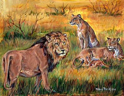 King Of Beasts Painting - Lion Pride - Royal Family by Melanie Petridis
