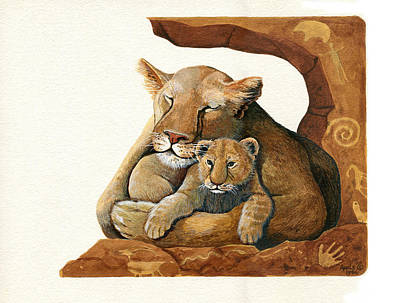 Lion - Protect Our Children Painting Art Print by Linda Apple