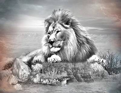 Digital Art -  Lion Resting  by Ali Oppy