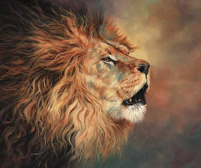 Animals Royalty-Free and Rights-Managed Images - Lion Roar Profile by David Stribbling
