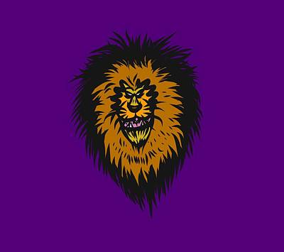 Drawing - Lion Roar Purple by Robert Watson
