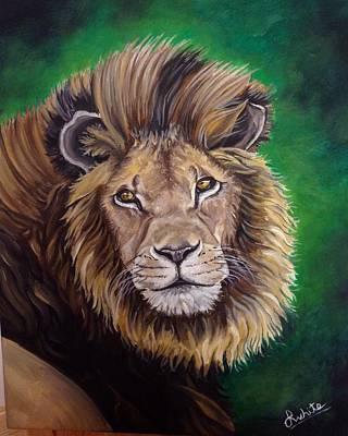 Painting - Lion by Art By Three Sarah Rebekah Rachel White