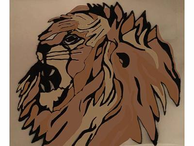 Drawing - Lion Side by Erika Chamberlin