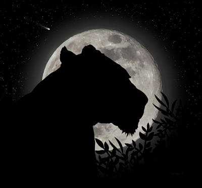 Digital Art - Lion Silhouette by Brian Wallace