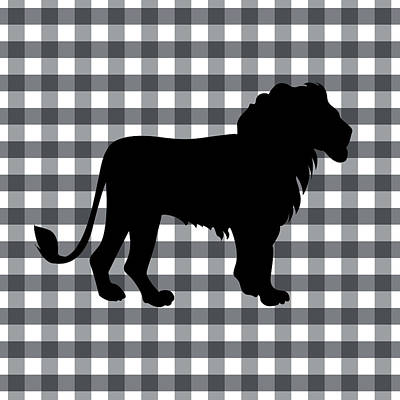 Gingham Digital Art - Lion Silhouette by Linda Woods