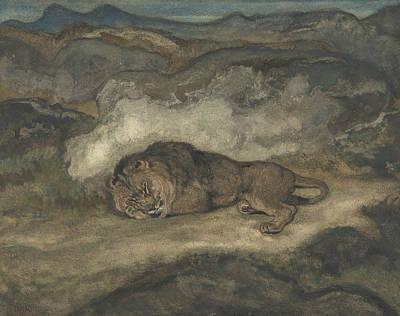 Drawing - Lion Sleeping by Antoine-Louis Barye