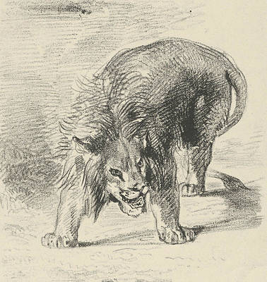 Relief - Lion Standing by Eugene Delacroix