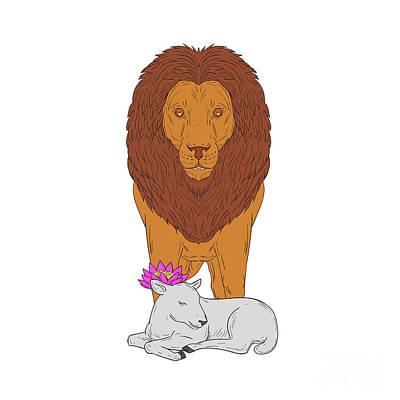 Lion Standing Over Lamb Lotus Flower Drawing Art Print