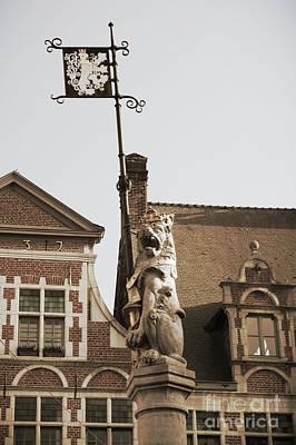 Photograph - Lion Statue In Ghent Belgium In Sepia by Carol Groenen