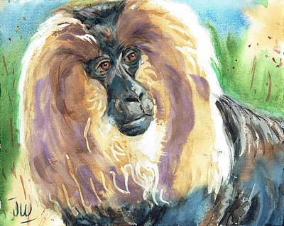 Painting - Lion Tailed Monkey by June Walker