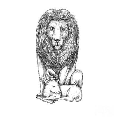 Lion Watching Over Lamb Tattoo Art Print