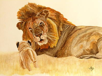 Martinez Painting - Lion Watercolor by Angeles M Pomata