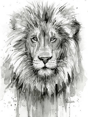 Black And White Art Painting - Lion Watercolor  by Olga Shvartsur