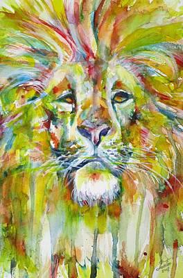 Painting - Lion - Watercolor Portrait.1 by Fabrizio Cassetta