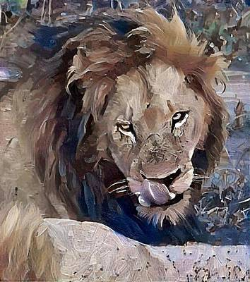 Lion With Tongue Art Print