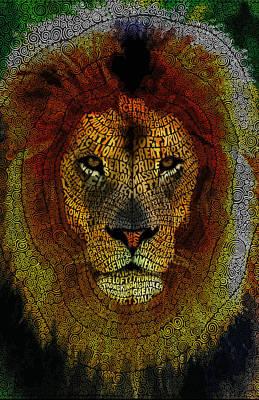 Lion Word Mosaic Art Print by Hans Fleurimont