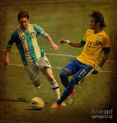 Lionel Messi And Neymar Junior Vintage Photo Art Print by Lee Dos Santos