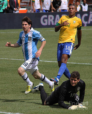 Clash Of Worlds Photograph - Lionel Messi Beats Rafael Cabral by Lee Dos Santos