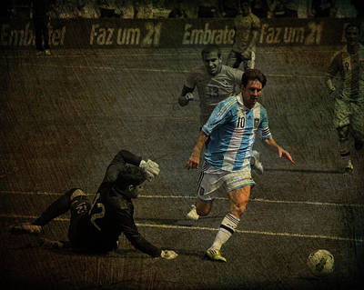 Lionel Messi Breaking Raphael Cabrals Ankles  Print by Lee Dos Santos