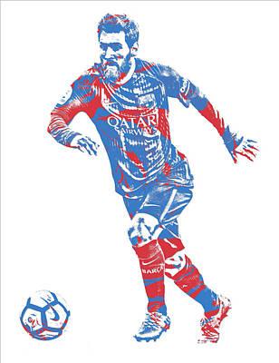 Barcelona Mixed Media - Lionel Messi F C Barcelona Argentina Pixel Art 1 by Joe Hamilton
