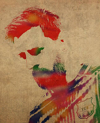 Messi Mixed Media - Lionel Messi Footballer Watercolor Portrait by Design Turnpike