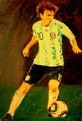 Painting - Lionel Messi by Henryk Gorecki