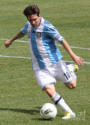 Clash Of Worlds Photograph - Lionel Messi Kicking by Lee Dos Santos