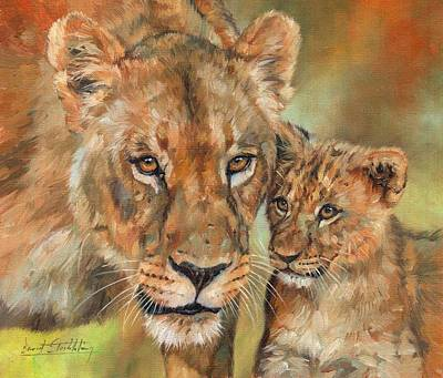 Painting - Lioness And Cub by David Stribbling