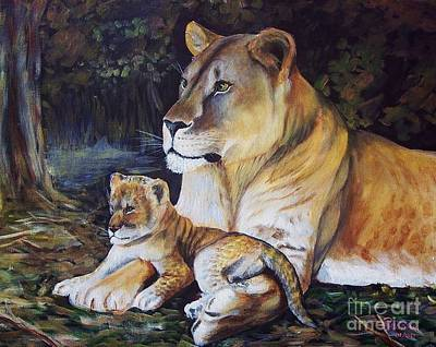 Painting - Lioness And Cub by Ruanna Sion Shadd a'Dann'l Yoder