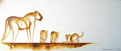 Lioness And Cubs Small - Original Artwork Art Print