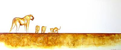 Lioness And Cubs - Original Artwork Art Print