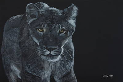 Painting - Lioness At Night by Vicky Path