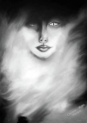 Drawing - Lioness Goddess Monochrome by Carmen Tosca