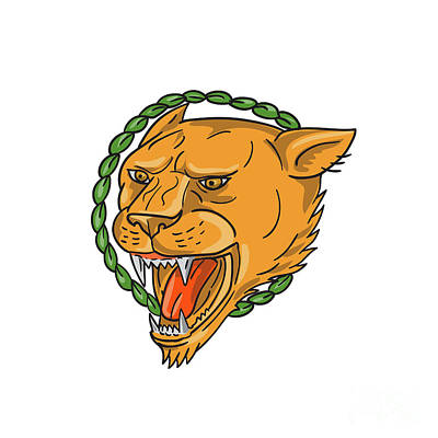 Lioness Growling Ring Leaves Tattoo Art Print