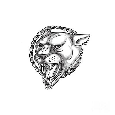 Lioness Growling Rope Circle Tattoo Art Print