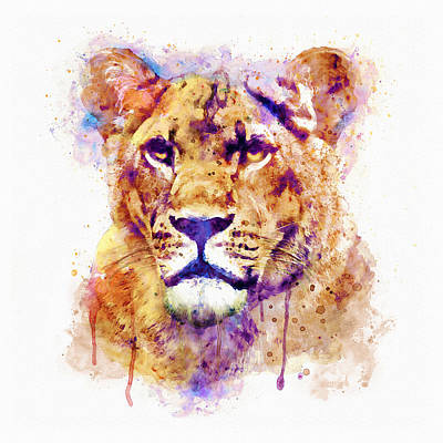 Big Square Format Mixed Media - Lioness Head by Marian Voicu