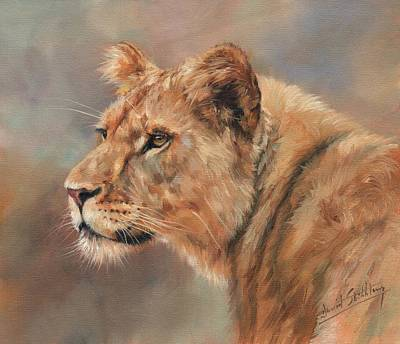 Painting - Lioness Portrait by David Stribbling