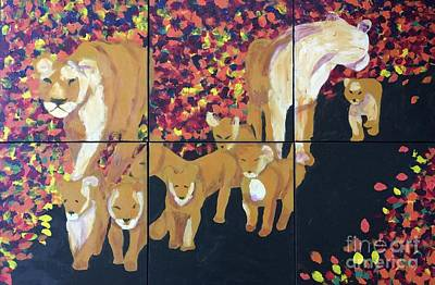 Painting - Lioness Pride by Donald J Ryker III