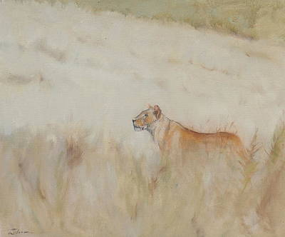 Painting - Lioness - Scent Ahead by Ron Wilson