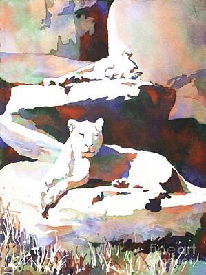 Painting - Lionesses At Zoo by Ryan Fox