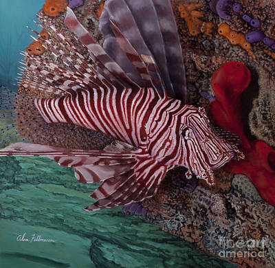 Painting - Lionfish by Alan Feldmesser