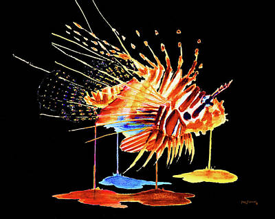 Snow Painting - Lionfish Black Background by Ken Figurski