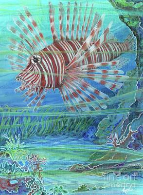 Painting - Lionfish Blues by Amelia at Ameliaworks
