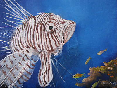 Painting - Lionfish In Blue by Gary Smith