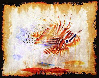 Lionfish Painting - Lionfish On Parchment Paper Black by Ken Figurski