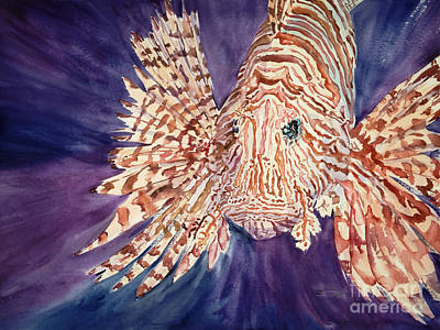Medium Blue Painting - Lionfish by Tanya L. Haynes - Printscapes